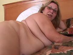 Chubby granny seduces man in bed bbw sex
