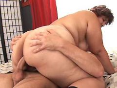 Horny fatty fucked by man in bed bbw sex