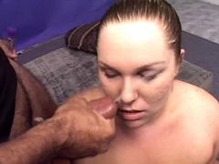 Lewd chubby whore gets cum in mouth bbw sex
