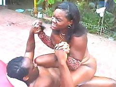 Chubby black girl fucks and gets facial outdoor bbw sex