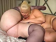 Two ultrafat ladies play with dildo bbw sex