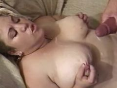 Chubby milf gets cum on big tits bbw sex