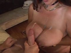 Chubby mature gets cumload on boobs bbw sex